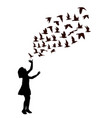 silhouette a girl with birds flying vector image vector image