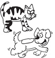 simple black and white cat and dog vector image vector image