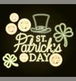 st patricks day neon label with hat lemprechaun vector image