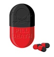 Tablet with a skull Pill death Medical product vector image