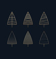 this is a set of golden icons of christmas trees vector image vector image