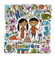 travel to singapore greeting card for your design vector image vector image