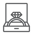 wedding ring in box line icon jewellery and vector image