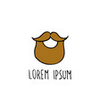 beard doodle icon vector image