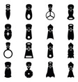 set of zippers icon vector image