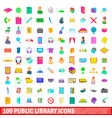 100 public library icons set cartoon style vector image