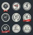 anniversary retro vintage badge collection 40 vector image vector image