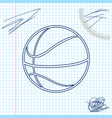 basketball ball line sketch icon isolated on white vector image
