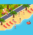 beach rest isometric composition vector image vector image