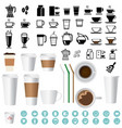 big coffee and tea icons set vector image vector image