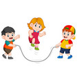 boys are playing jumping rope vector image