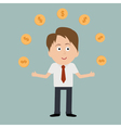 Businessman juggle with dollar coins vector image