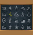 Candle flame chalk draw line icons set