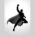 cartoon silhouette of a superhero flying vector image vector image