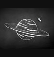 chalk drawn saturn planet vector image vector image