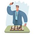 chess player man in glasses checkmated opponent vector image vector image