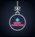christmas ball neon sign merry xmas neon on wall vector image vector image
