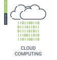 cloud computing icon with outline style and vector image