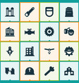 construction icons set with gloves bolt flowing vector image vector image