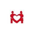 creative two lovers couple negative heart logo vector image vector image