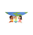 cute multicultural little kids sitting under the vector image vector image
