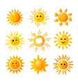 cute sun hand drawn sunshine summer morning vector image vector image
