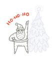 dancing santa claus and fir-tree vector image vector image