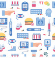 diabetes seamless pattern - flat icons of vector image vector image