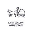farm wagon with straw line icon outline sign vector image