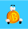 funny bitcoin sitting crypto currency emoticon vector image vector image