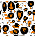 funny lions seamless pattern for your design vector image vector image