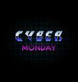 futuristic cyber monday banner design neon vector image vector image