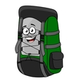 Green cartoon rucksack or backpack vector image