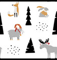 hand drawn seamless pattern with bunny fox goat vector image vector image