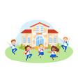 happy kids in school uniform with backpacks vector image