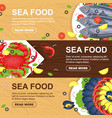 horizontal seafood banners set for menu design vector image vector image