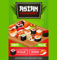 japanese food sushi and rolls menu vector image vector image