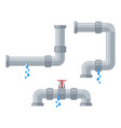 leaking water pipes broken steel and plastic vector image vector image