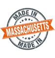 Massachusetts orange grunge ribbon stamp on white vector image vector image