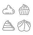 meringue icons set outline style vector image