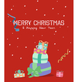 Merry Christmas greeting cardgift box vector image