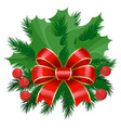 mistletoe and pine tree branch with ribbon bow vector image vector image