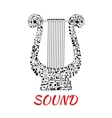 Notes and clefs in shape of lyre vector image