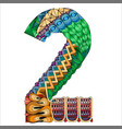 number two zentangle decorative object number vector image vector image
