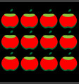 pattern of red apples on a black background vector image vector image