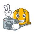 photographer construction helmet mascot cartoon vector image