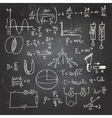 Physical formulas and drawings on a chalkboard vector image vector image