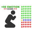 Pray pose icon with bonus emoticon clipart vector image