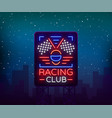 racing sports billboard neon logo emblem pattern vector image vector image