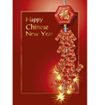 red firecrackers on chinese new year card vector image vector image